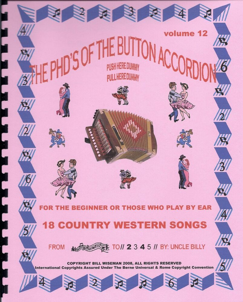 """BUTTON ACCORDION BOOK, PLAY BY #S, """"18 COUNTRY WESTERN ..."""