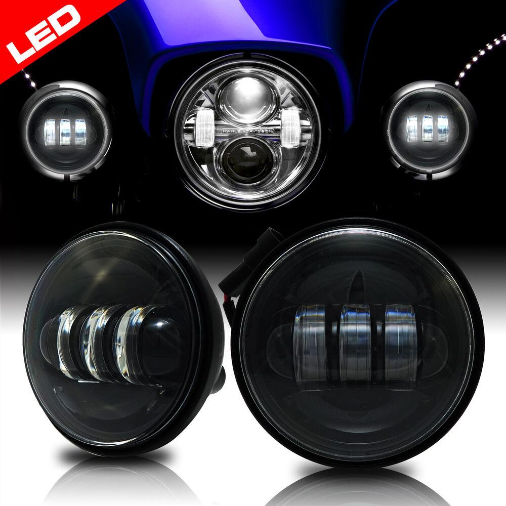 2x 4 1 2 Quot Black Led Auxiliary Spot Fog Passing Light Lamp For Harley Motorcycle Ebay