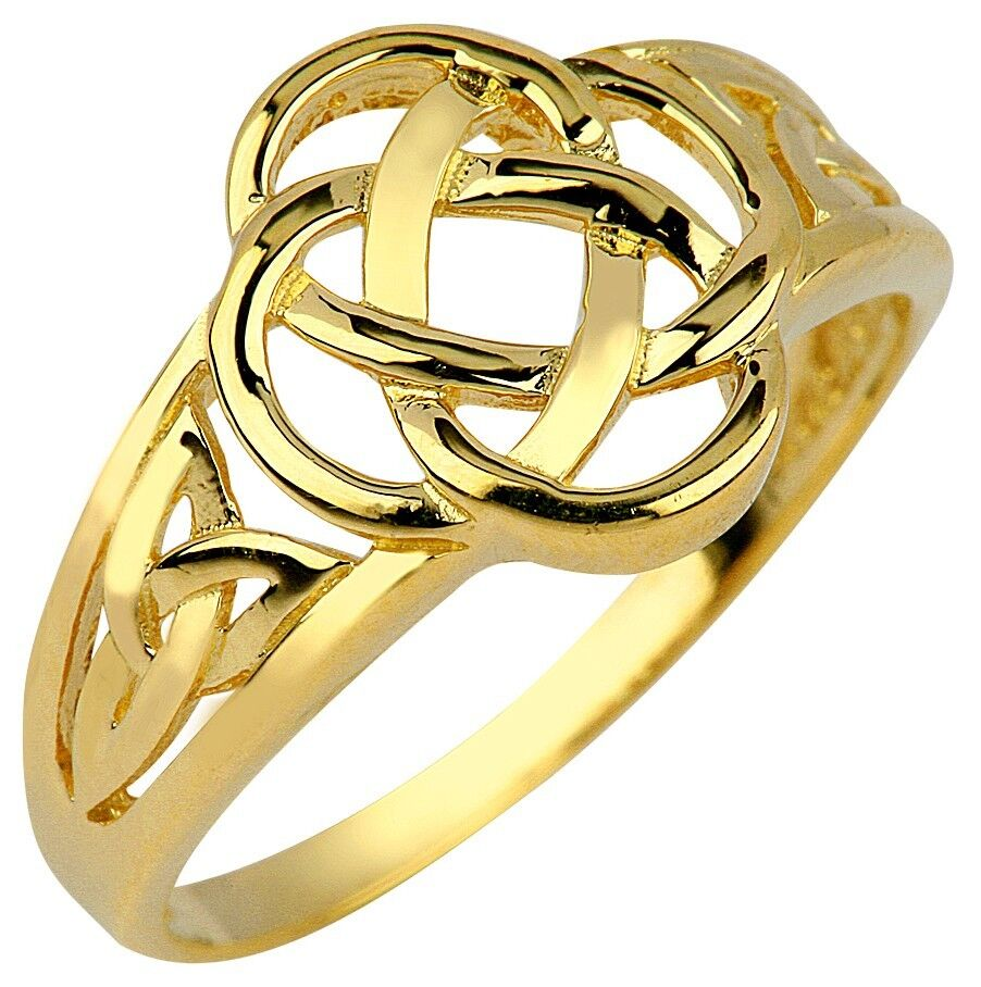 10k 14k Yellow Gold Ladies Trinity Triquetra Ring for ...