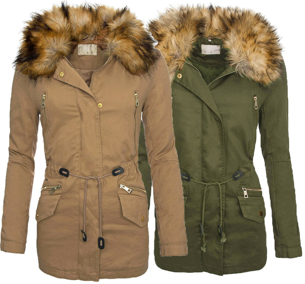 stylische damen herbst winter jacke leichte winterjacke parka mantel fell b172 ebay. Black Bedroom Furniture Sets. Home Design Ideas