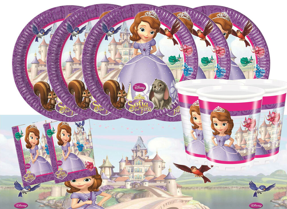 Sofia the first party tableware pack for 16 kids birthday for 1st birthday decoration packs