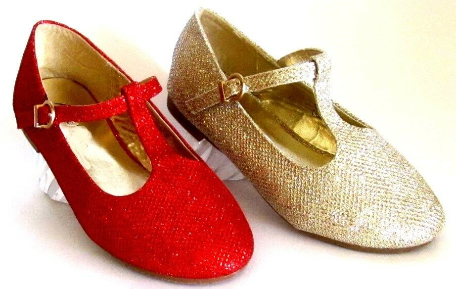 Glitter mary jane dress shoes flower girl pageant holiday flats ebay