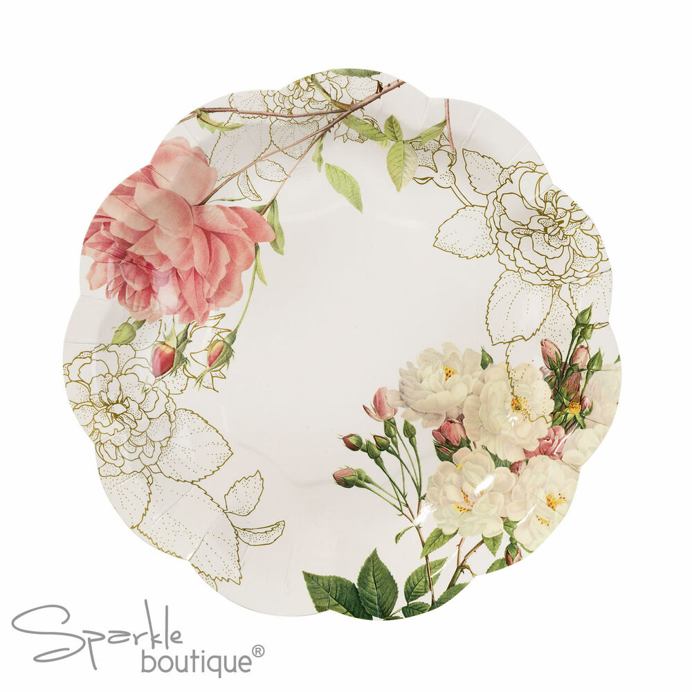 FLORAL PAPER PLATES X12 Blossom Amp Brogues Vintage Style