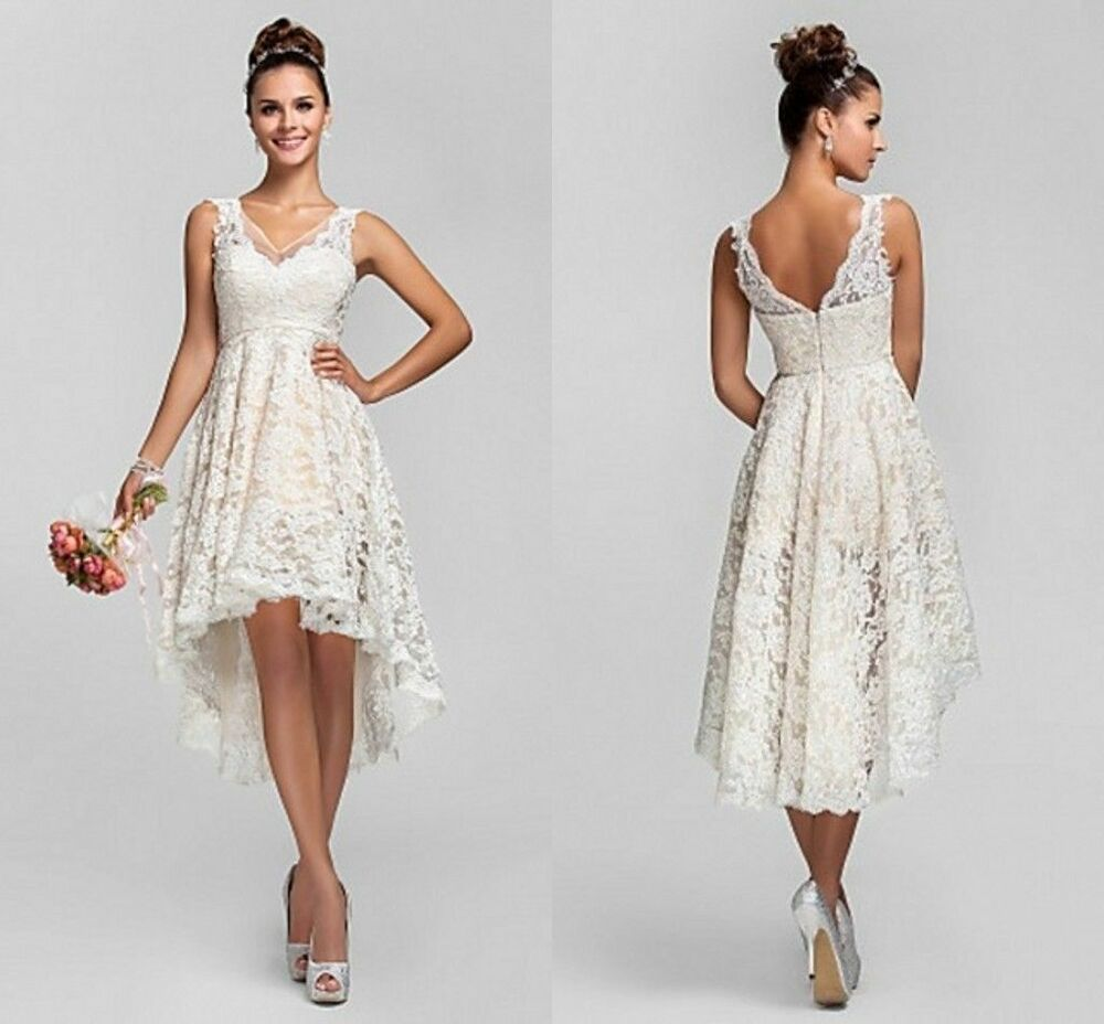 Short Sexy V-Neck White/Ivory Lace Wedding Dress Bridal