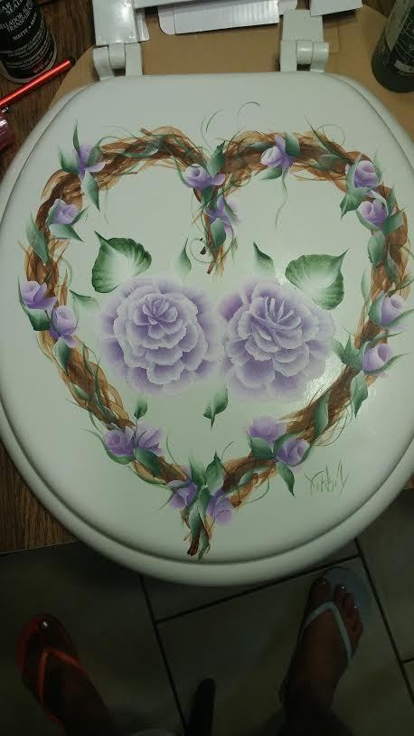 Hand painted toilet seat grape vine heart cottage chic for Toilette shabby chic