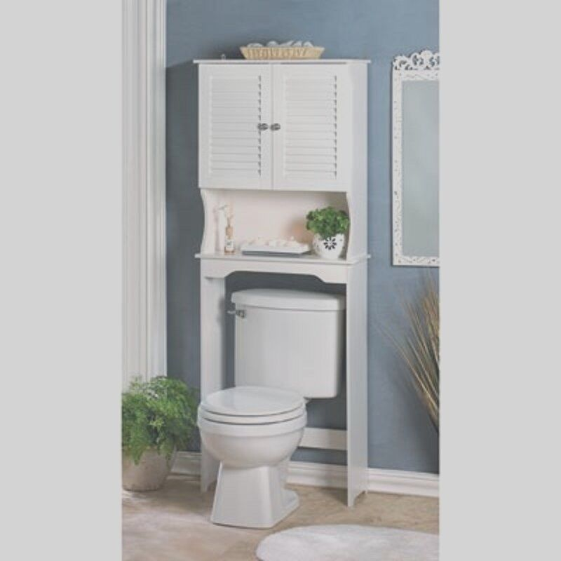 Bathroom storage over the toilet white cabinet organizer for Over the toilet cabinet