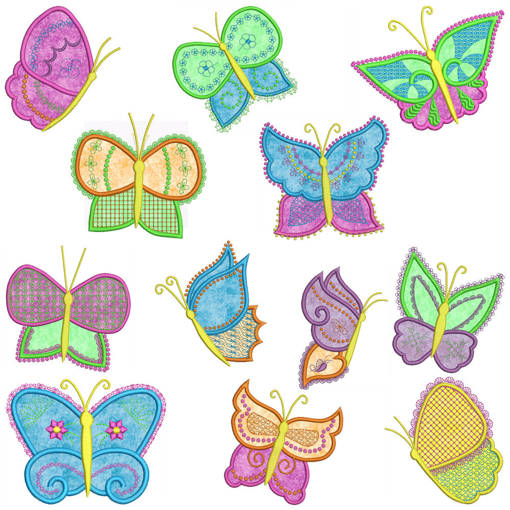 butterflies machine applique embroidery patterns 12. Black Bedroom Furniture Sets. Home Design Ideas