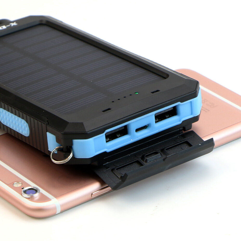 300000mah solar powerbank charger externer zusatz akku universal ladeger t blau ebay. Black Bedroom Furniture Sets. Home Design Ideas