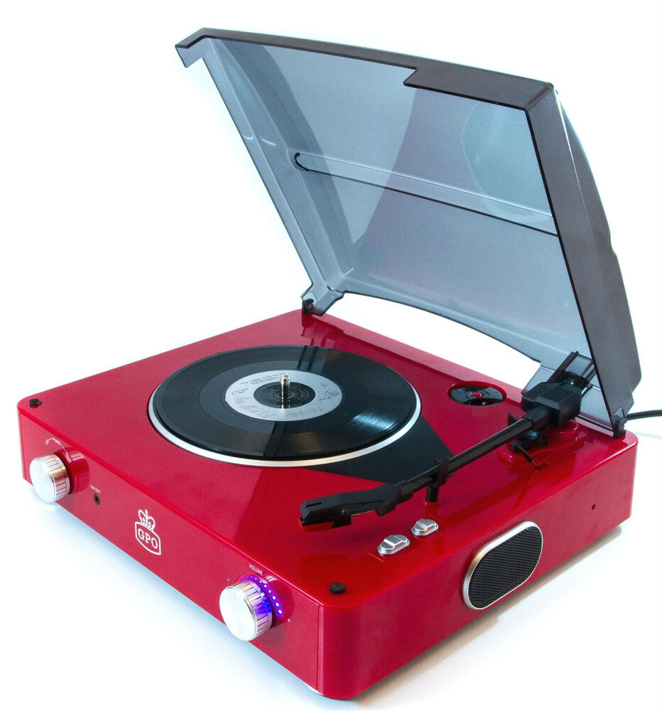 Gpo Stylo Retro 3 Speed Record Player Red Vinyl Turntable