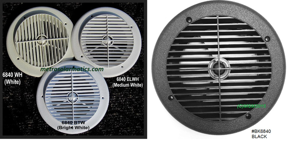 Ceiling Vent Ac Cover 7 Louvered Plastic Round Blk Or