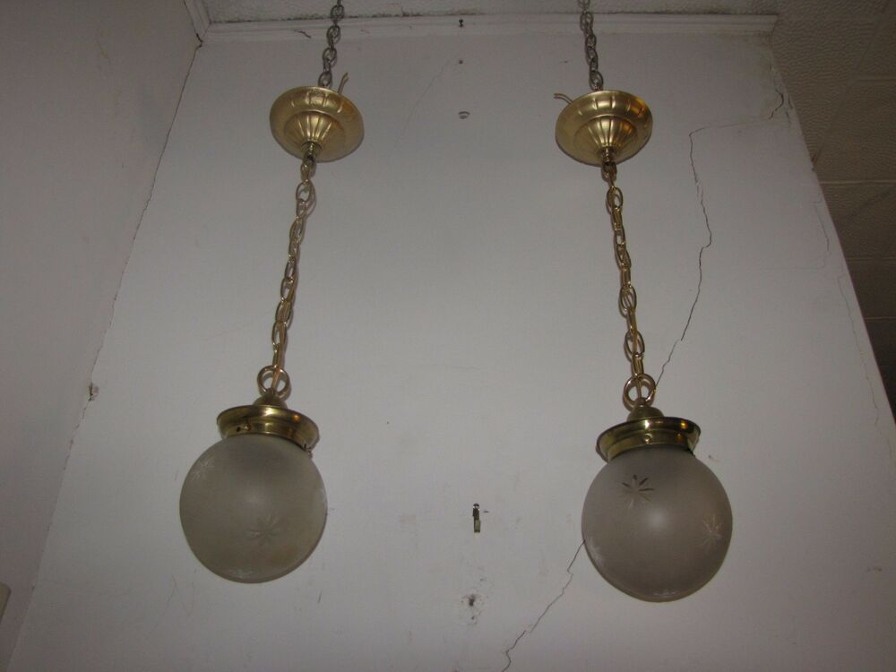 Pair of antique polished restored pendulum light w star for Pendulum light globes