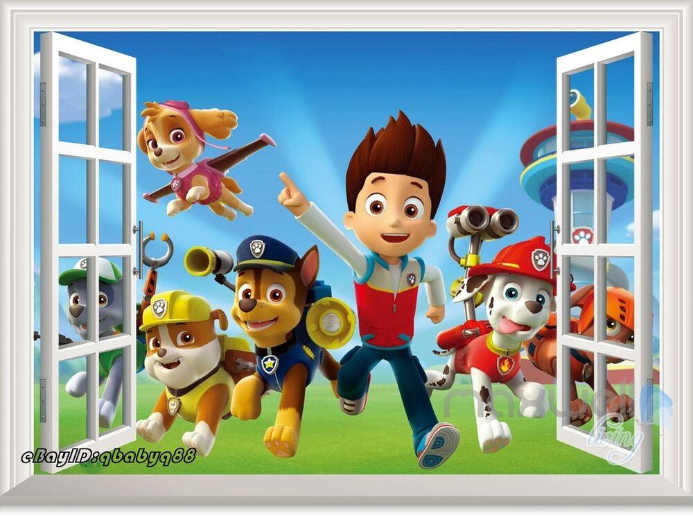3d Window Paw Patrol Marshall Rubble Kids Room Decor Wall
