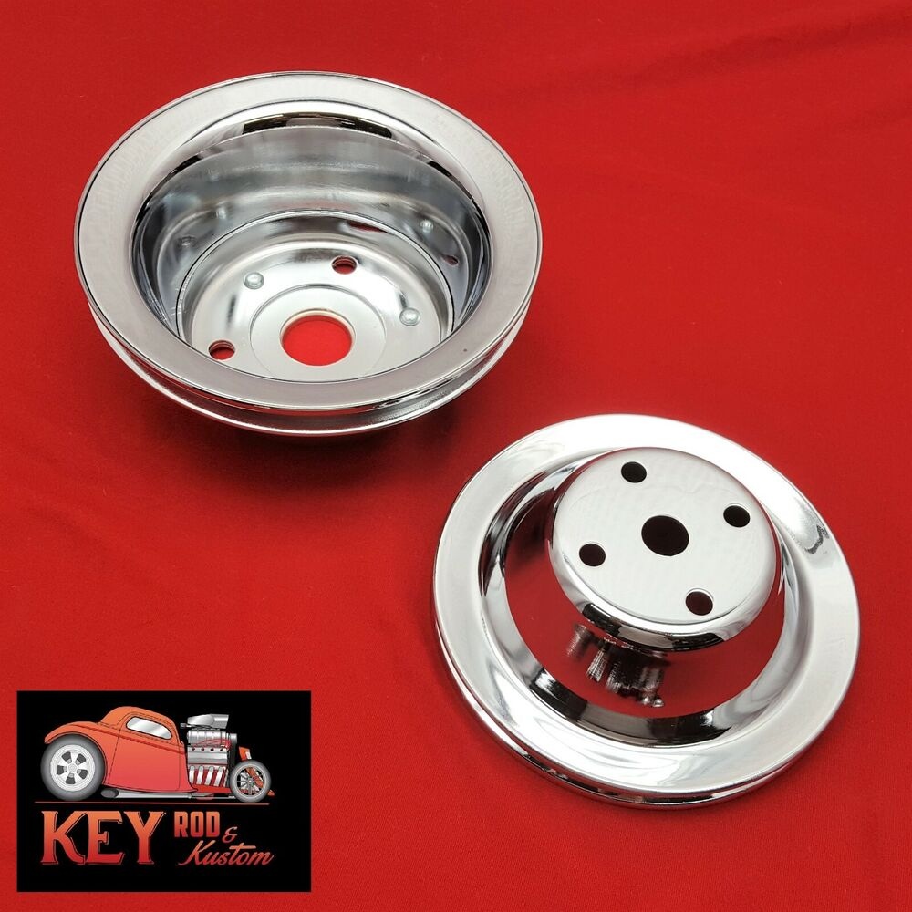Small Block Chevy Chrome Pulley Set SBC Single 1 Groove