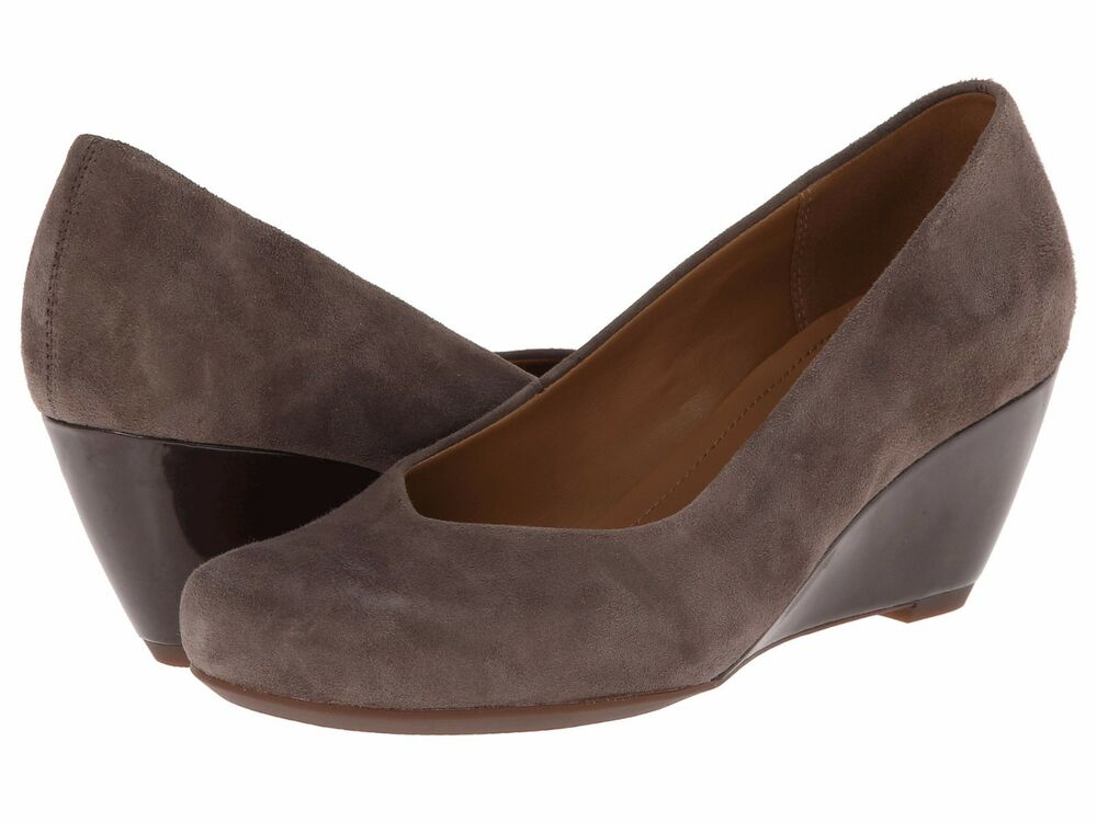 Clarks Grey Wedge Shoes