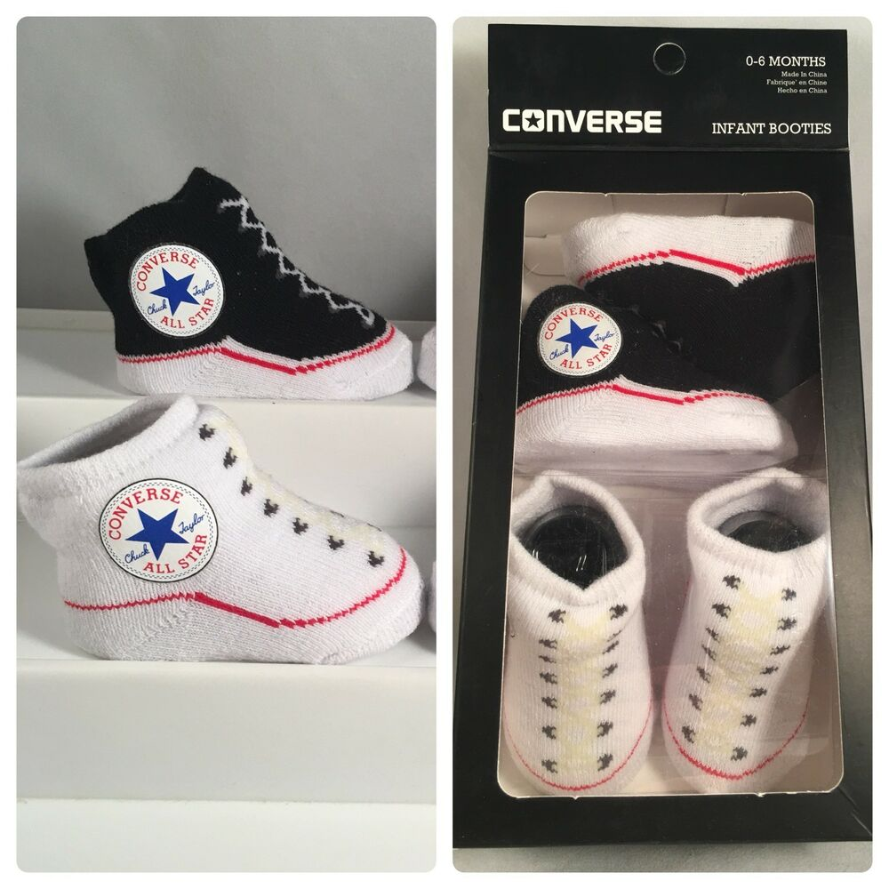 a5ef760f29ae 2 Pair Converse Chuck Taylor 0-6 Months Baby Booties Infant Black White  Gift B4 617844706076