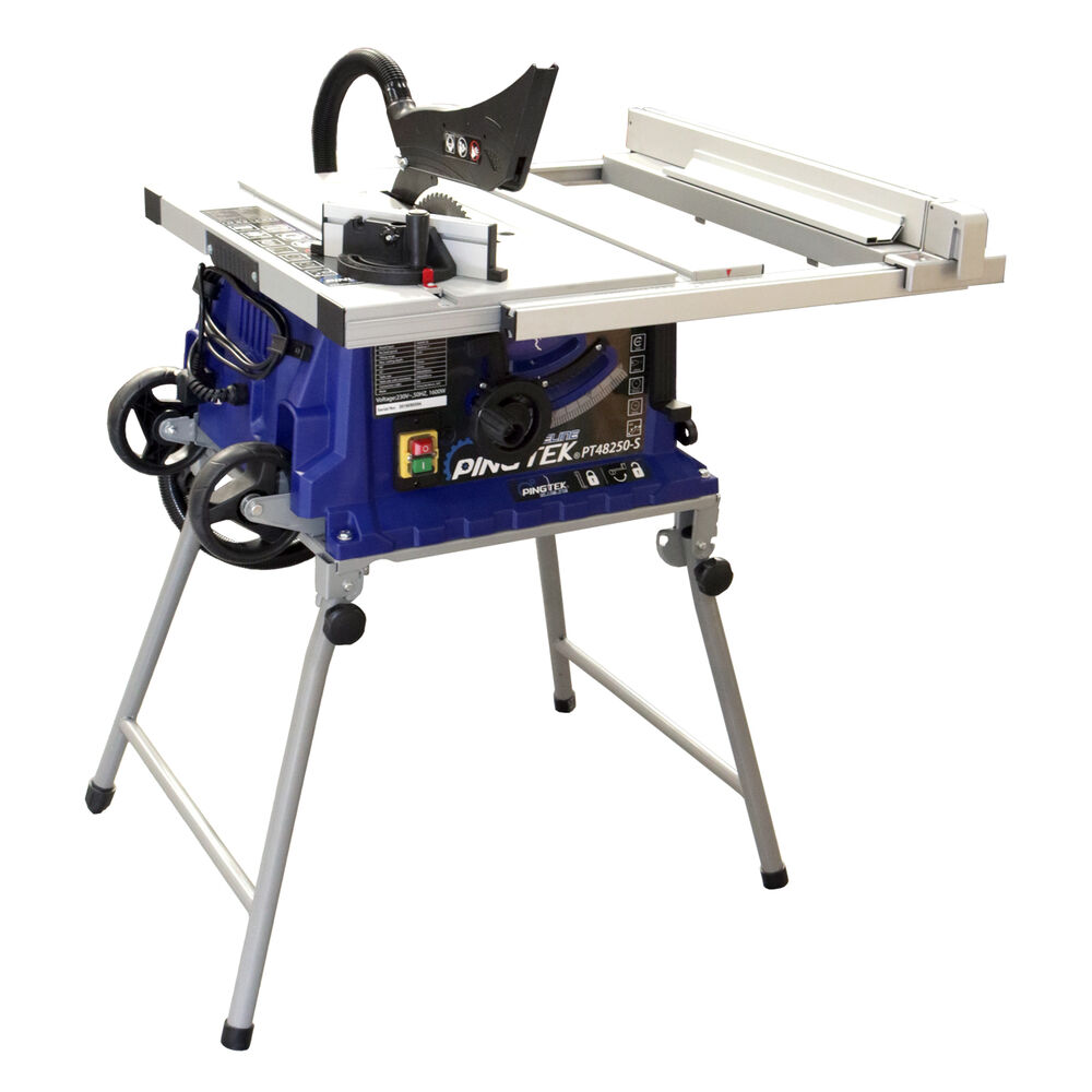 Pingtek Blueline 255mm Bench Table Saw With Adjustable Side Ext Folding Legs Ebay