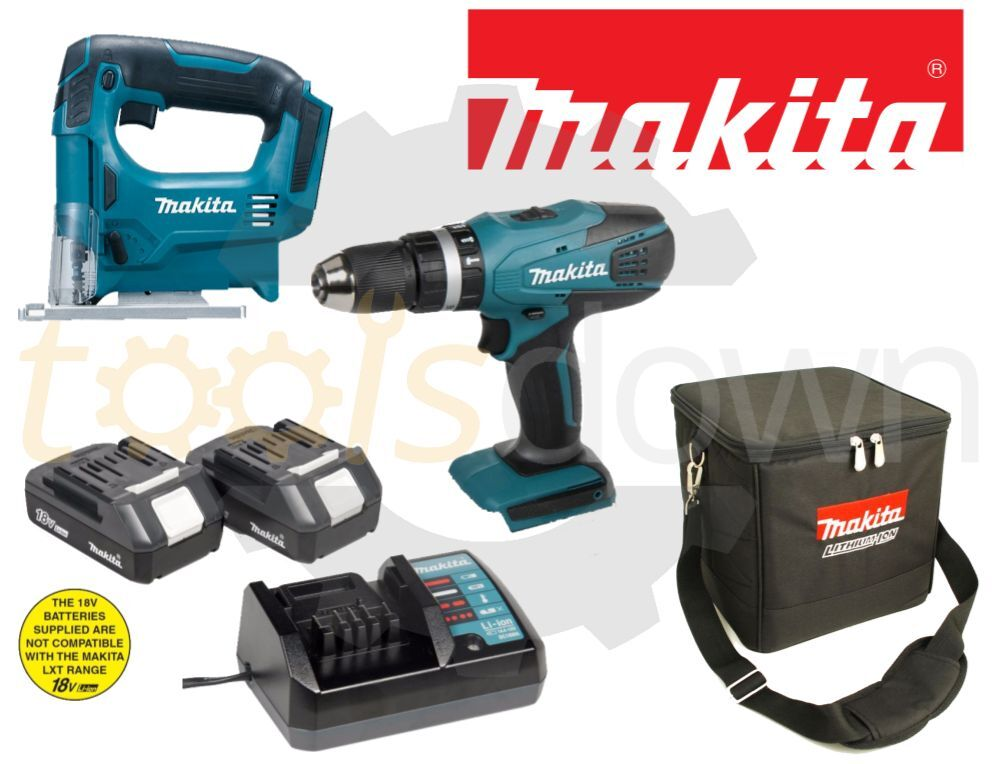 makita 18v li ion cordless combi drill jigsaw twin set. Black Bedroom Furniture Sets. Home Design Ideas
