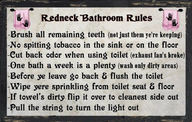 (Redneck Bathroom Rules) WALL DECOR, RUSTIC, PRIMITIVE ...