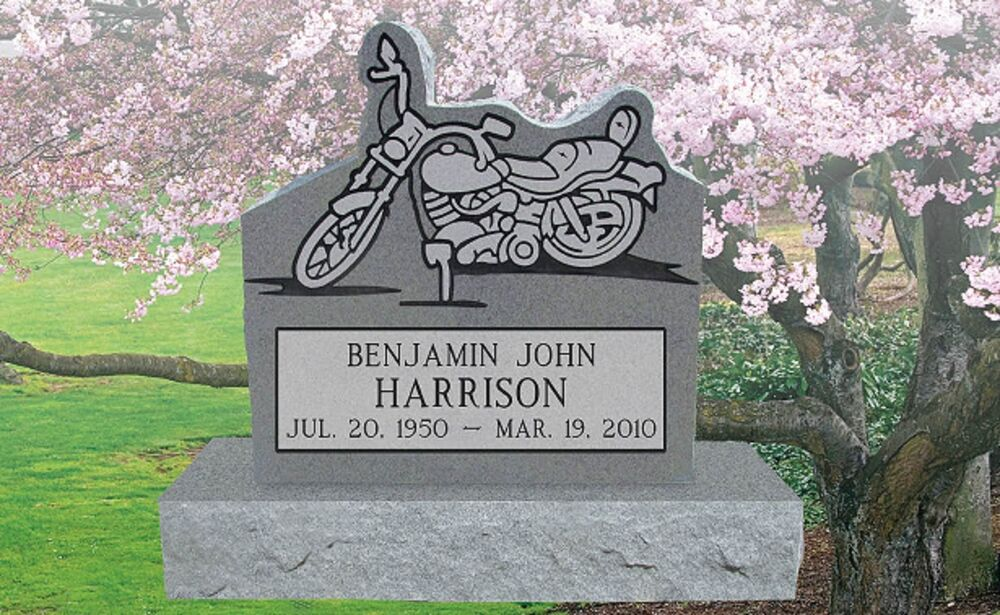Granite Headstone Motorcycle Grave Marker Tombstone Monument just add ...