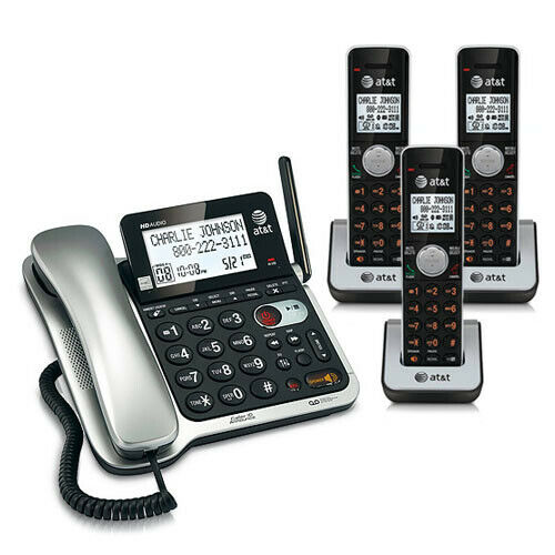 at t cl84302 corded cordless phone system w digital. Black Bedroom Furniture Sets. Home Design Ideas