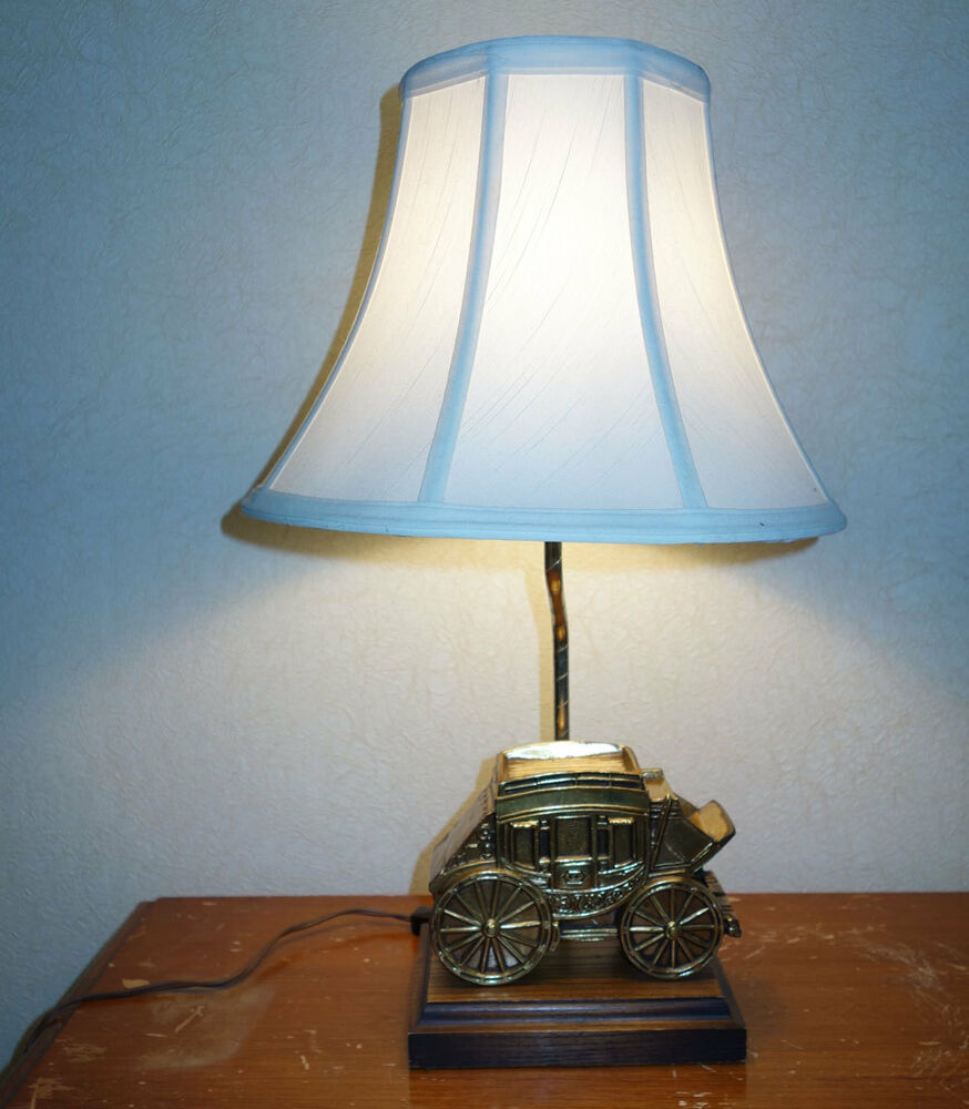 brass stagecoach table lamp wooden base bell shaped shade ebay. Black Bedroom Furniture Sets. Home Design Ideas