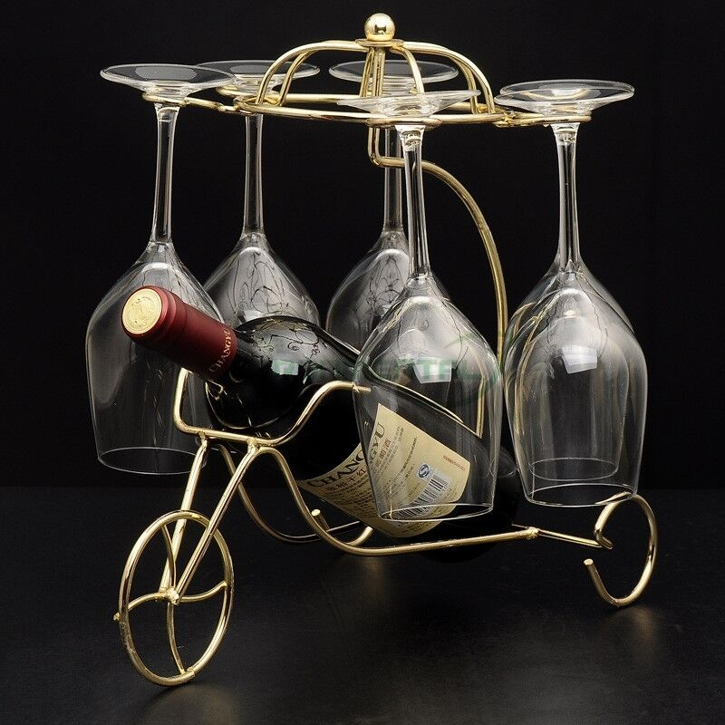 Retro metal wine rack bottle glass holder table stand carrier homeware gifts ebay - Wire wine bottle carrier ...
