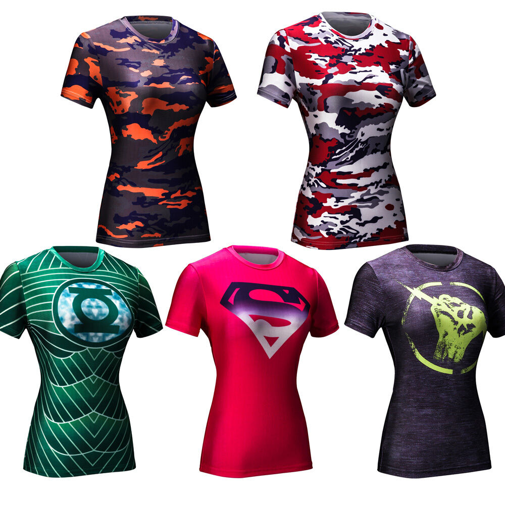 Fashion womens superhero camo costume compression t shirts for Costume t shirts online