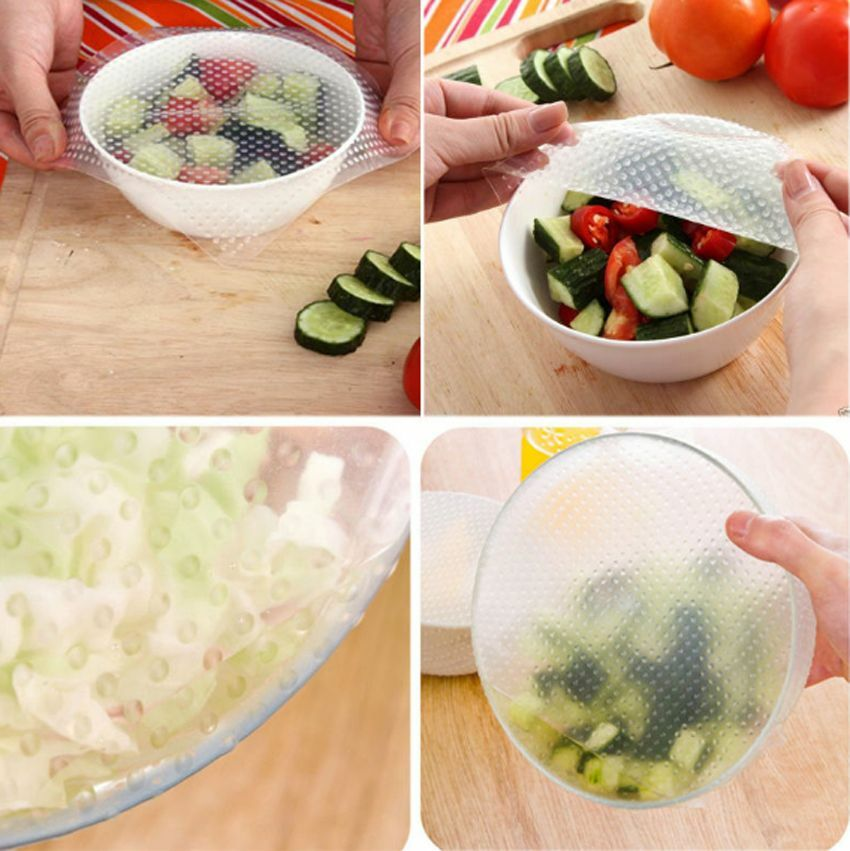 4x Kitchen Tool Reusable Silicone Food Wrap Seal Cover