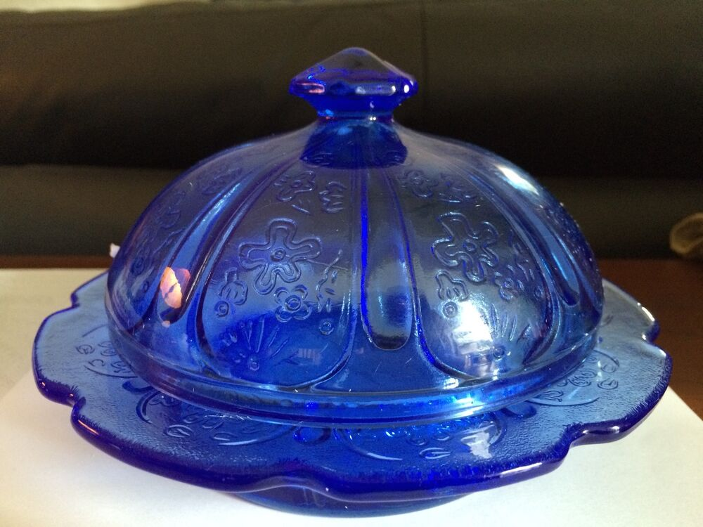 Large Cobalt Blue Round Butter Dish or Cheese Dish or ...