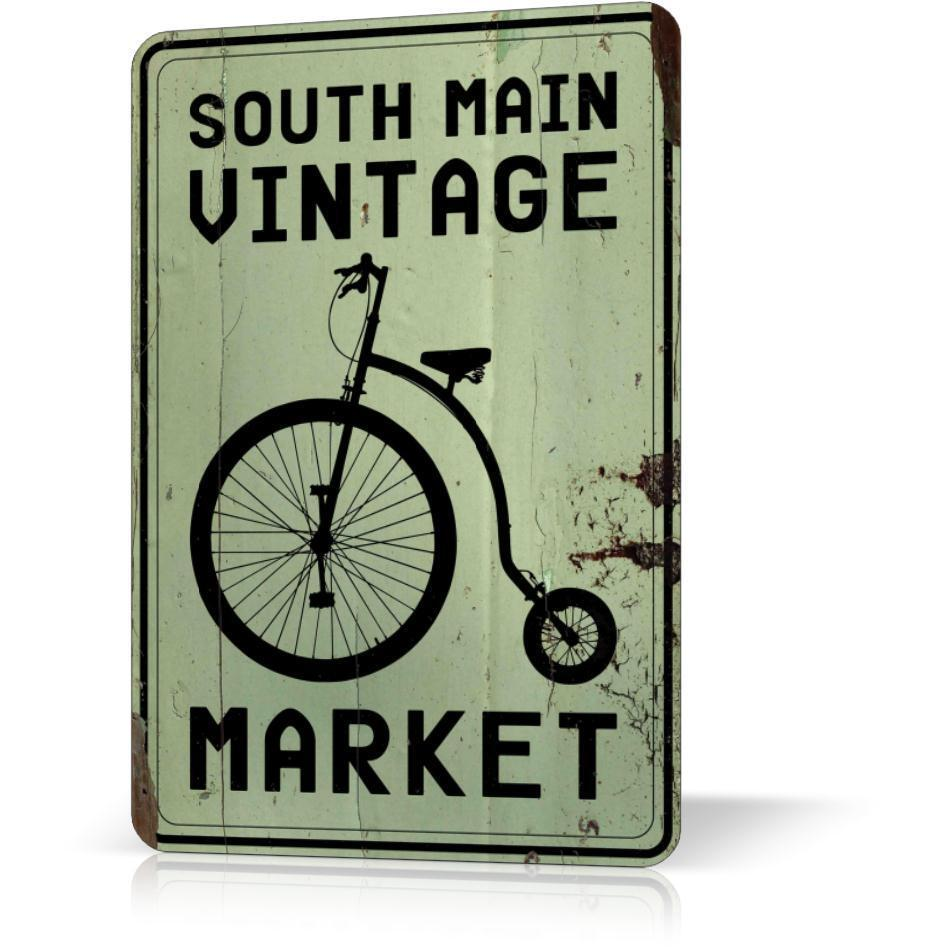 Tin Wall Decor Vintage : Metal tin sign south main vintage market bike retro decor