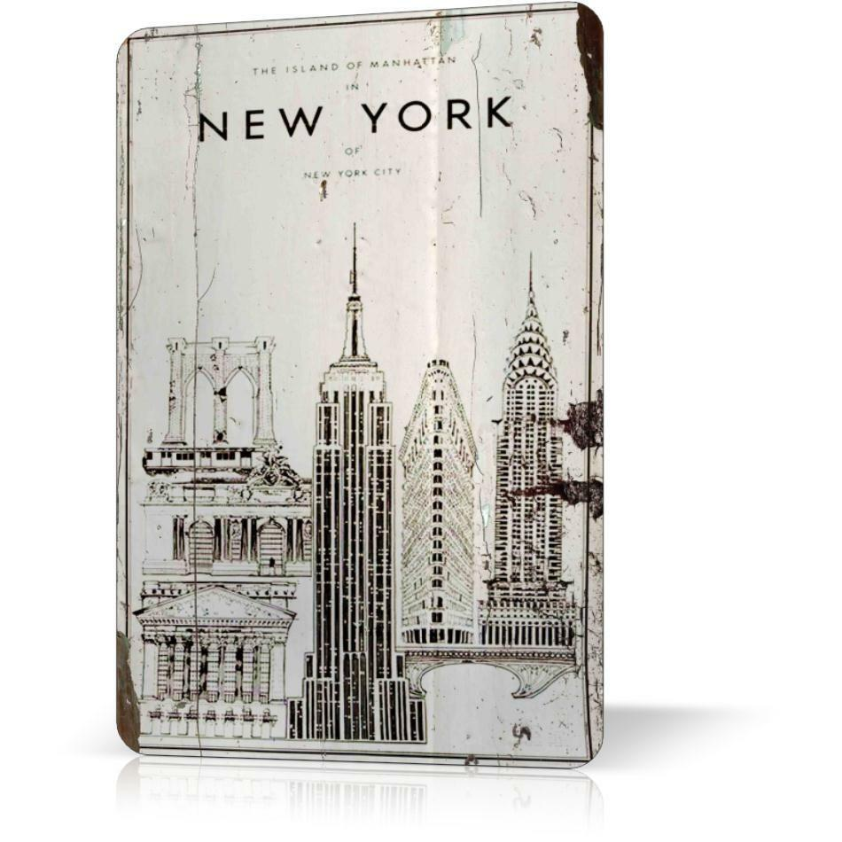 Metal tin sign old manhattan new york poster retro decor for Home decor new york