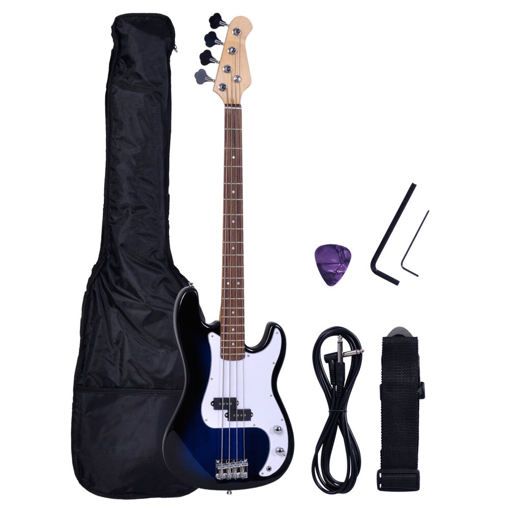 blue electric bass full size 4 strings guitar amp cord gigbag case strap ebay. Black Bedroom Furniture Sets. Home Design Ideas