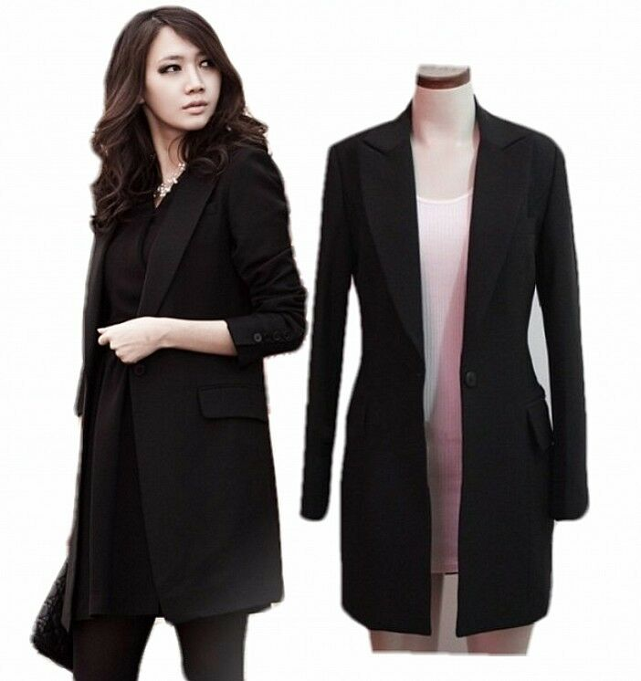 elegant women ladies lapel single breasted formal casual long blazer jacket coat ebay. Black Bedroom Furniture Sets. Home Design Ideas