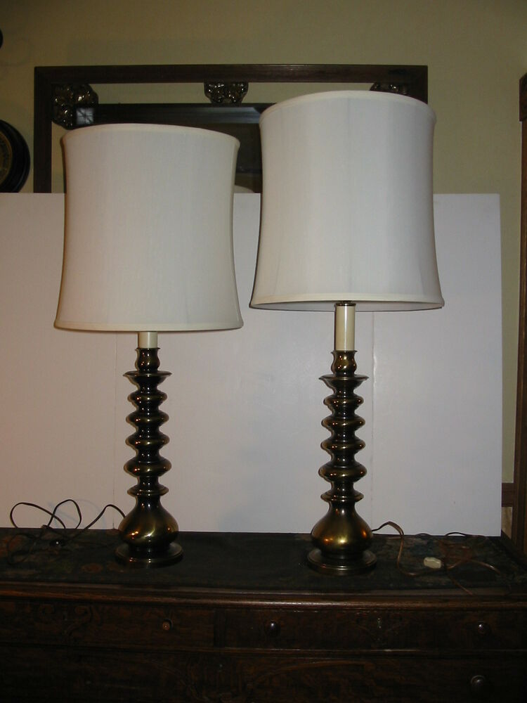 Vintage Pair Ethan Allen Candlestick Table Lamps Solid