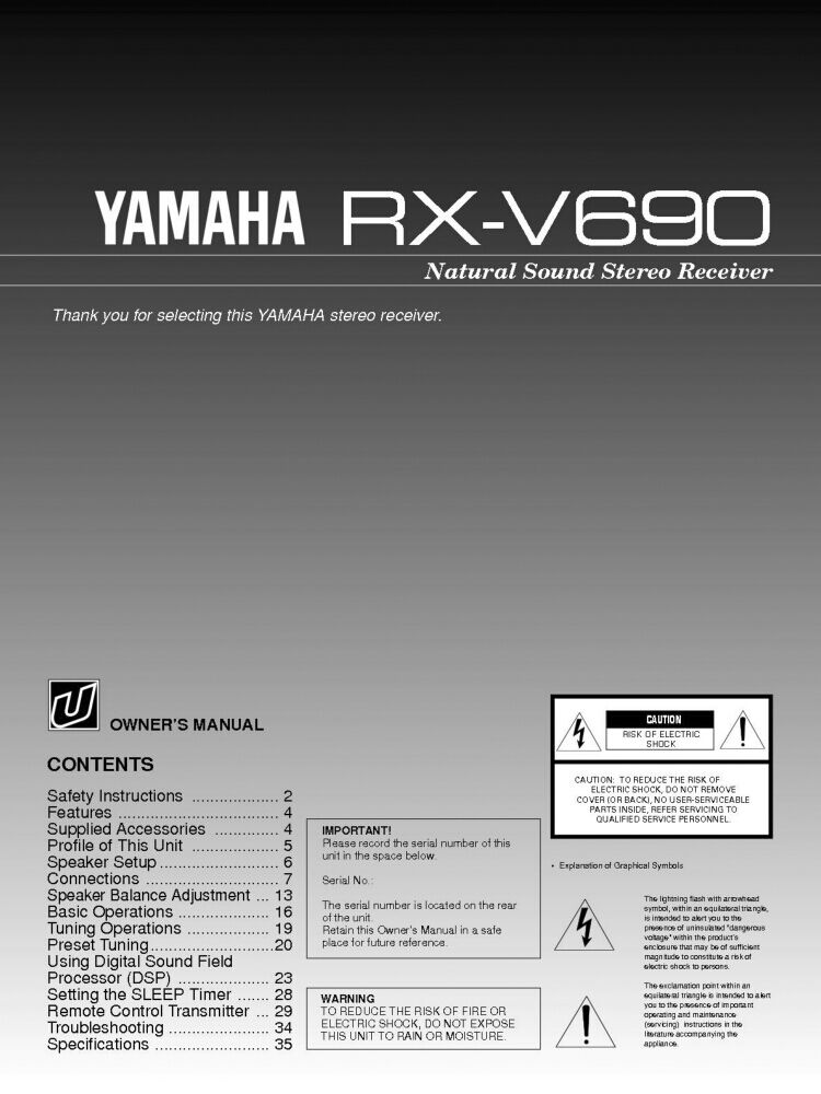 Yamaha rx v690 receiver owners manual ebay for Yamaha rx v1600 manual