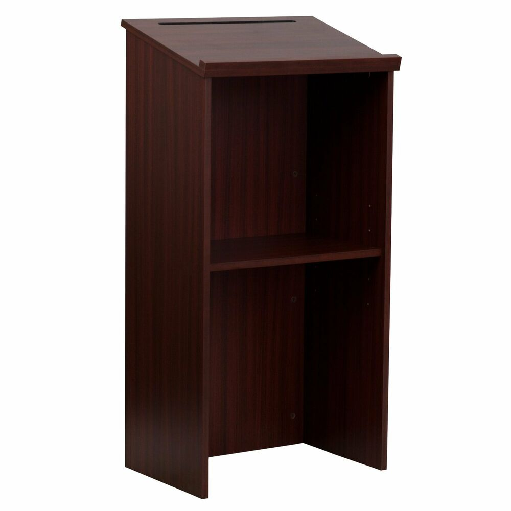 Lectern Stand Up Pulpit Safco Oak Flash Furniture Cherry