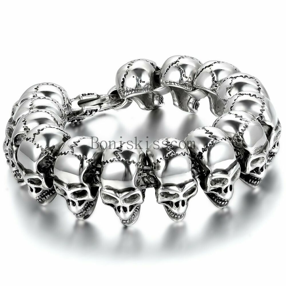 Fashion gothic skull head beads link biker mens stainless for Biker jewelry stainless steel