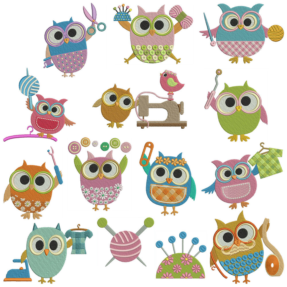 SEWING OWLS  Machine Embroidery Patterns  14 Designs