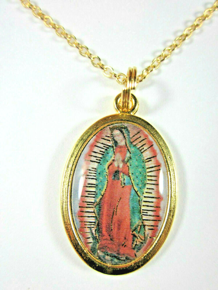 our lady of guadalupe color image medal gold plated