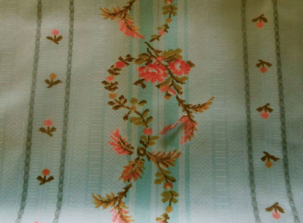 Vintage French Sky Blue Coral Pink Shabby Cottage Roses