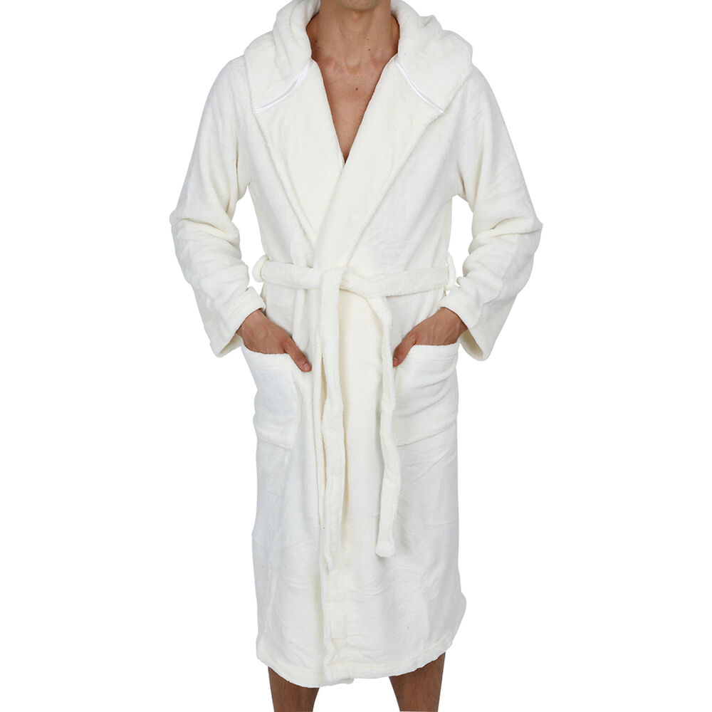 coral fleece men 39 s hooded robe white super soft ebay. Black Bedroom Furniture Sets. Home Design Ideas