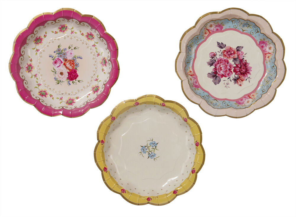 72 luxury vintage style afternoon tea party paper plates shabby chic 3 designs ebay. Black Bedroom Furniture Sets. Home Design Ideas