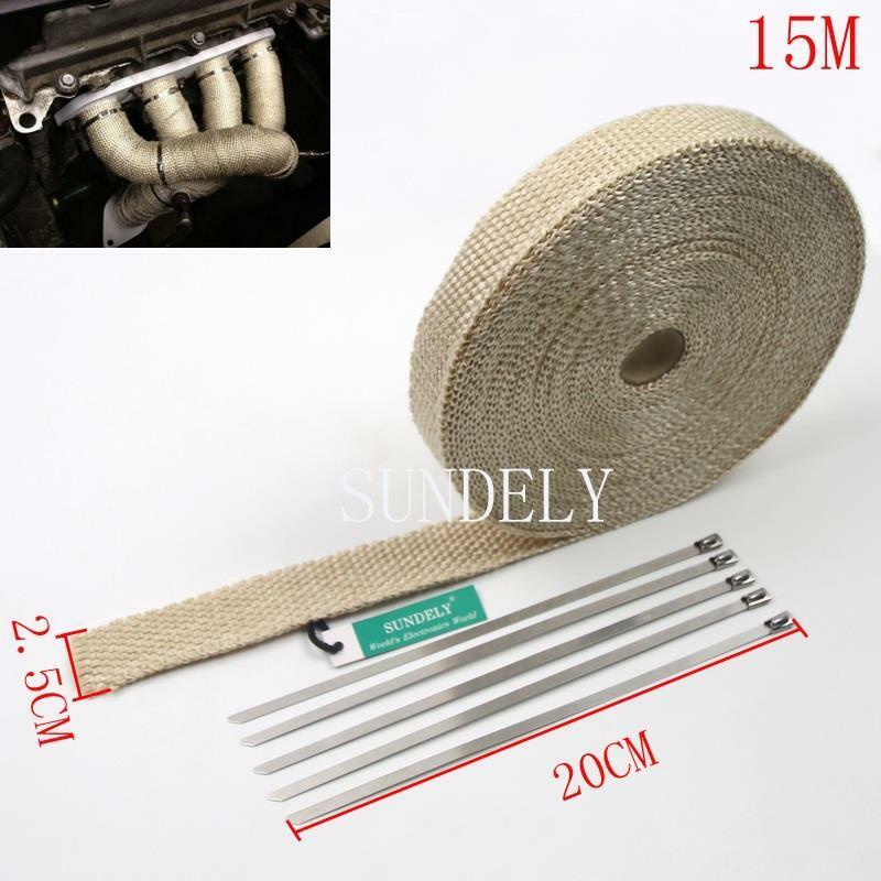 heat tape for pipes car exhaust header heat wrap white 15m x 25mm roll 28938