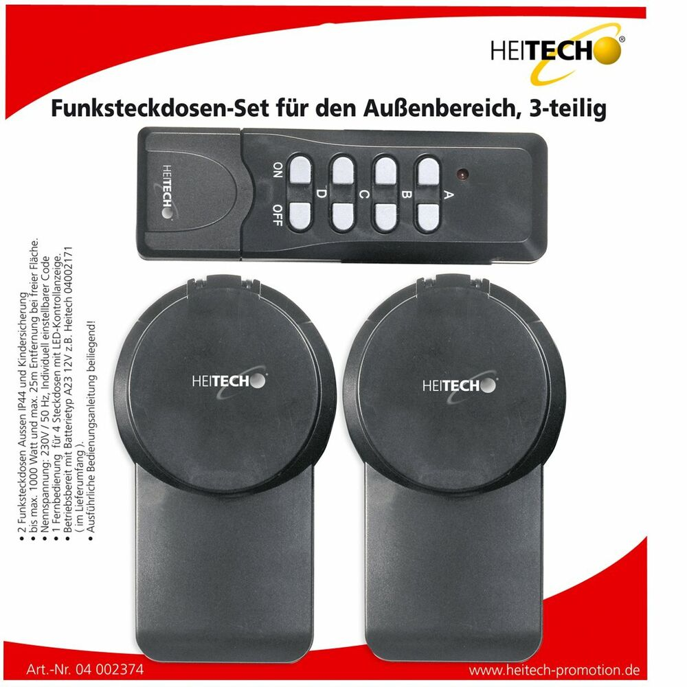 heitech funksteckdosen set f r den au enbereich 3 teilig. Black Bedroom Furniture Sets. Home Design Ideas