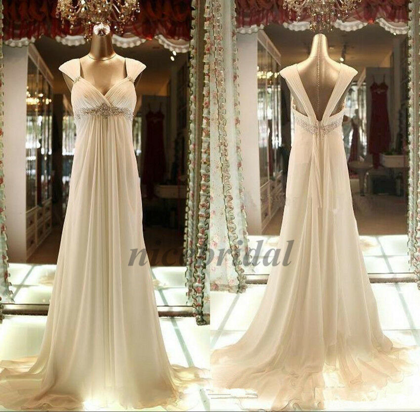 Simple Empire Pregnant Wedding Dresses Maternity Bead