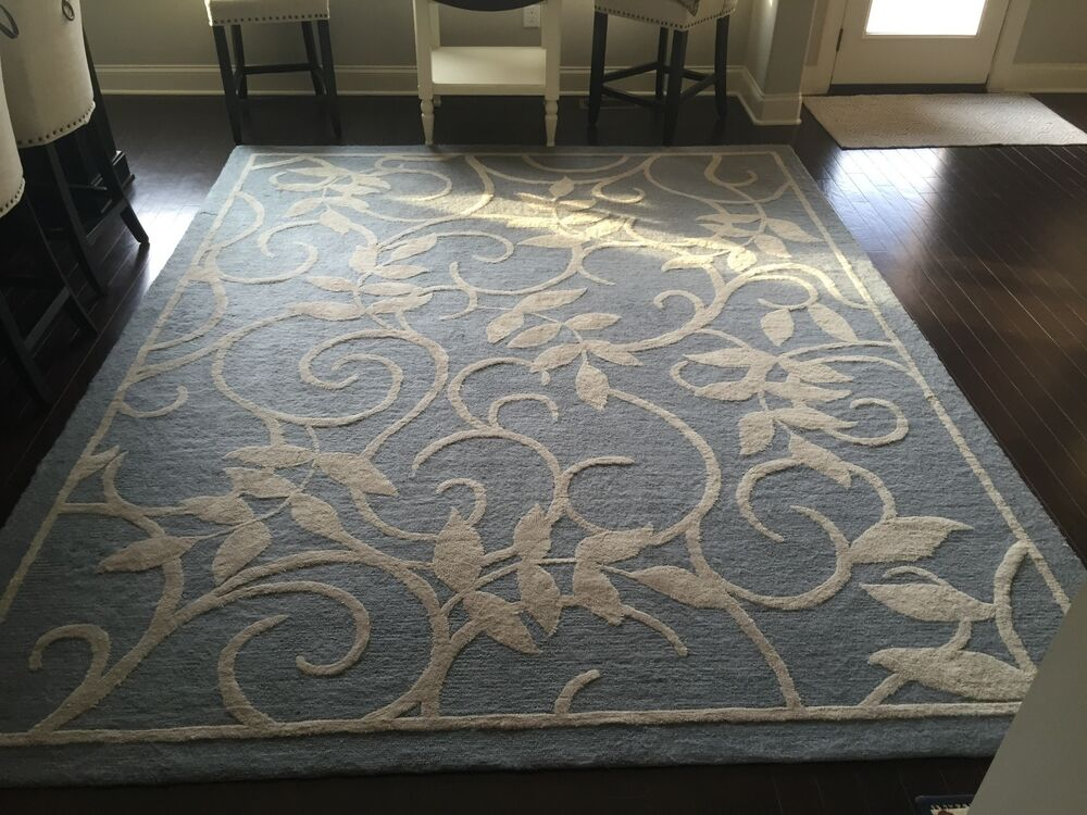 Area Rug 8x10 Light Blue And Ivory Floral Ebay