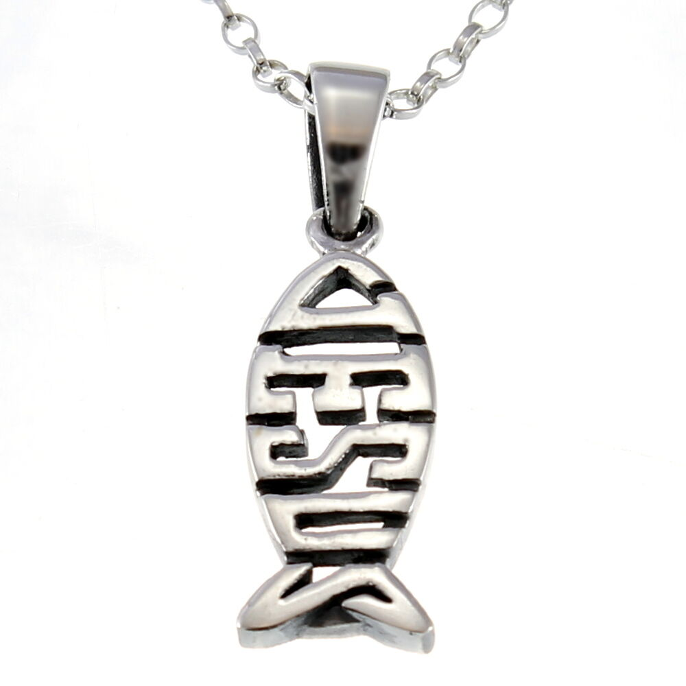Sterling silver christian jesus fish ichthys pendant for Jesus fish necklace