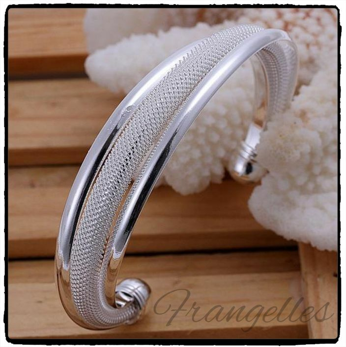 Ladies 925 Sterling Silver Twisted Mesh Net Rope Cuff