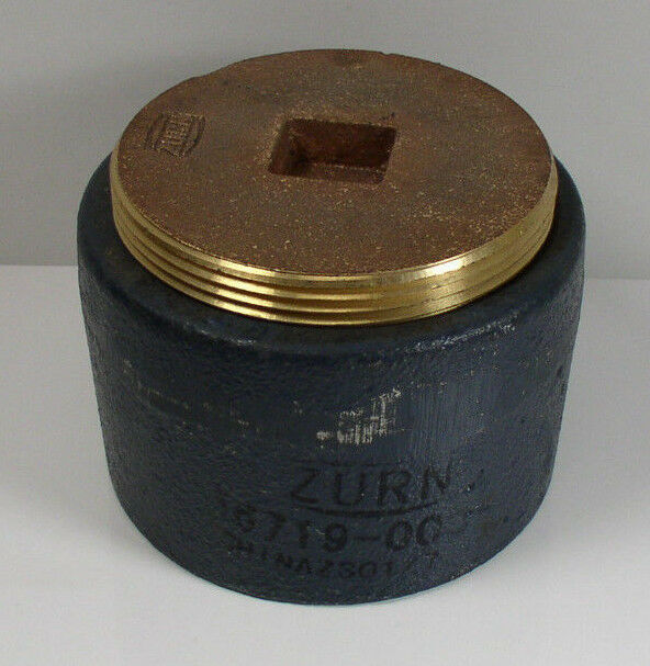 Zurn quot cast iron cleanout with counter sunk brass