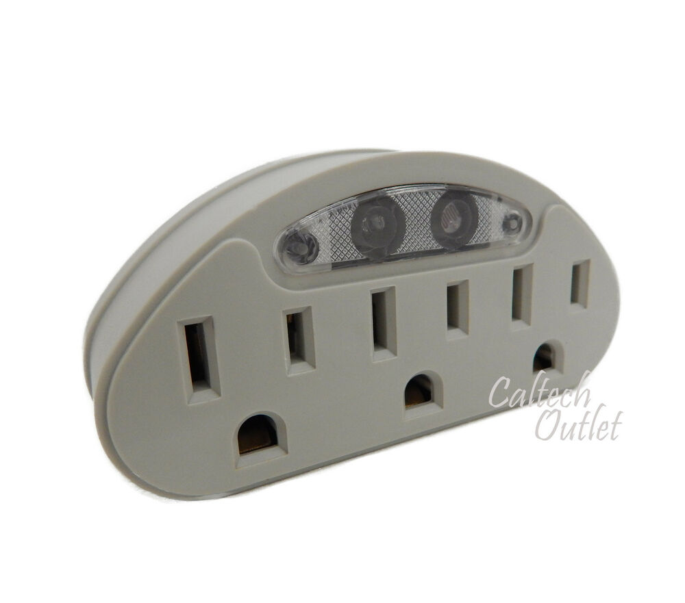 3 Ac Outlet Grounded Wall Tap Switch Adapter W Light
